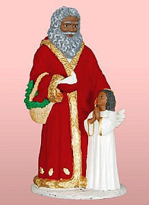 African American Santa Claus With Angel Figurine