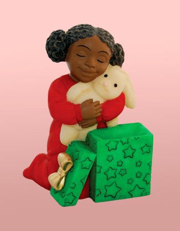 African American Christmas Girl With Bunny Figurine