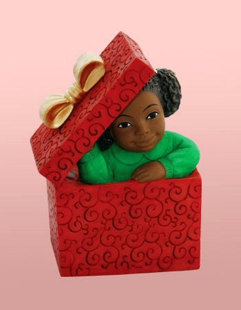 African American Christmas Girl In Box Figurine