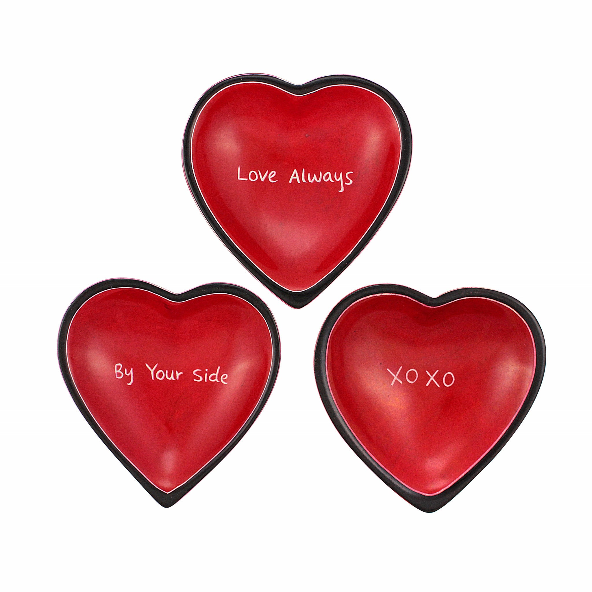 In Love Kenyan Heart Shaped Soapstone Dish Set