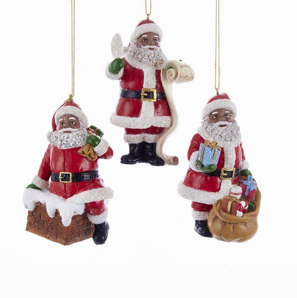 African American Santa Claus Assorted Christmas Ornament Set (3 Piece)