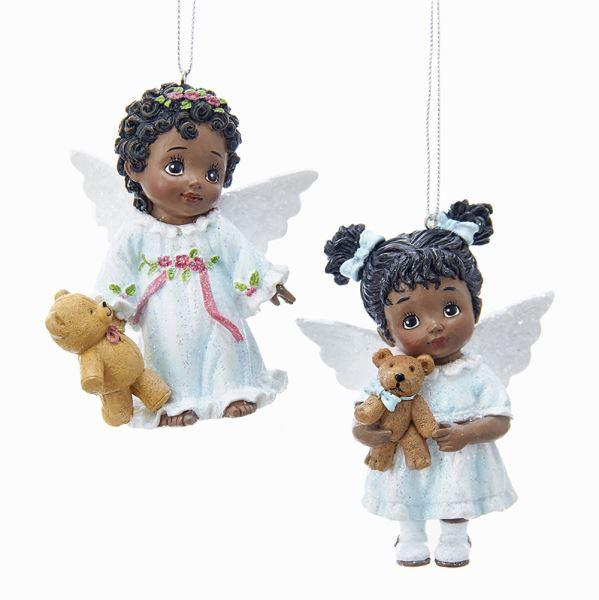 Baby Angels with Teddy Bears: African American Christmas Ornament by Kurt Adler