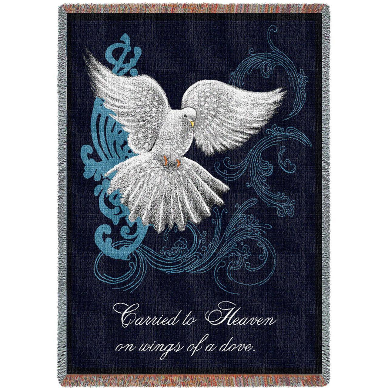 Carried to Heaven on Wings of a Dove Sympathy/Memorial Tapestry Throw