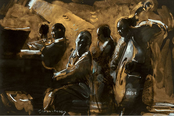 Blues on Gold by Charles Mackesy