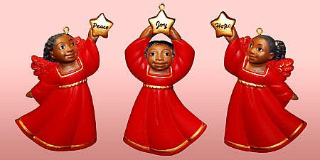Cherub African American Christmas Ornament Set II (Red)
