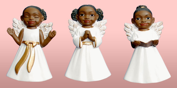 Cherub African American Christmas Ornament Set (White)