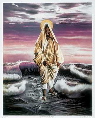 African American Jesus Christ Walking on Water by Aaron & Alan Hicks