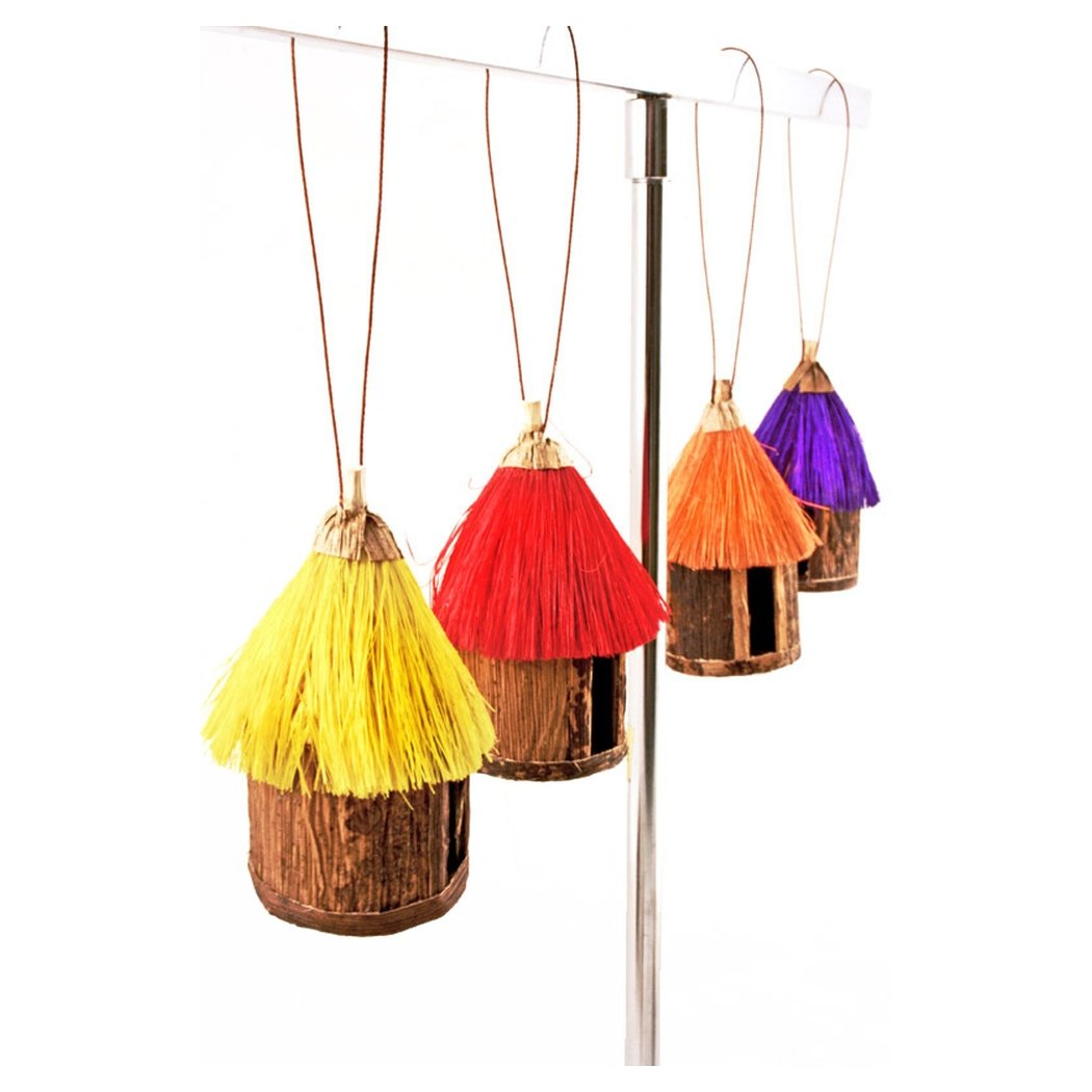 Authentic African Hand Made Colorful Sisal & Banana Fiber Hut Ornaments (Set of 4)