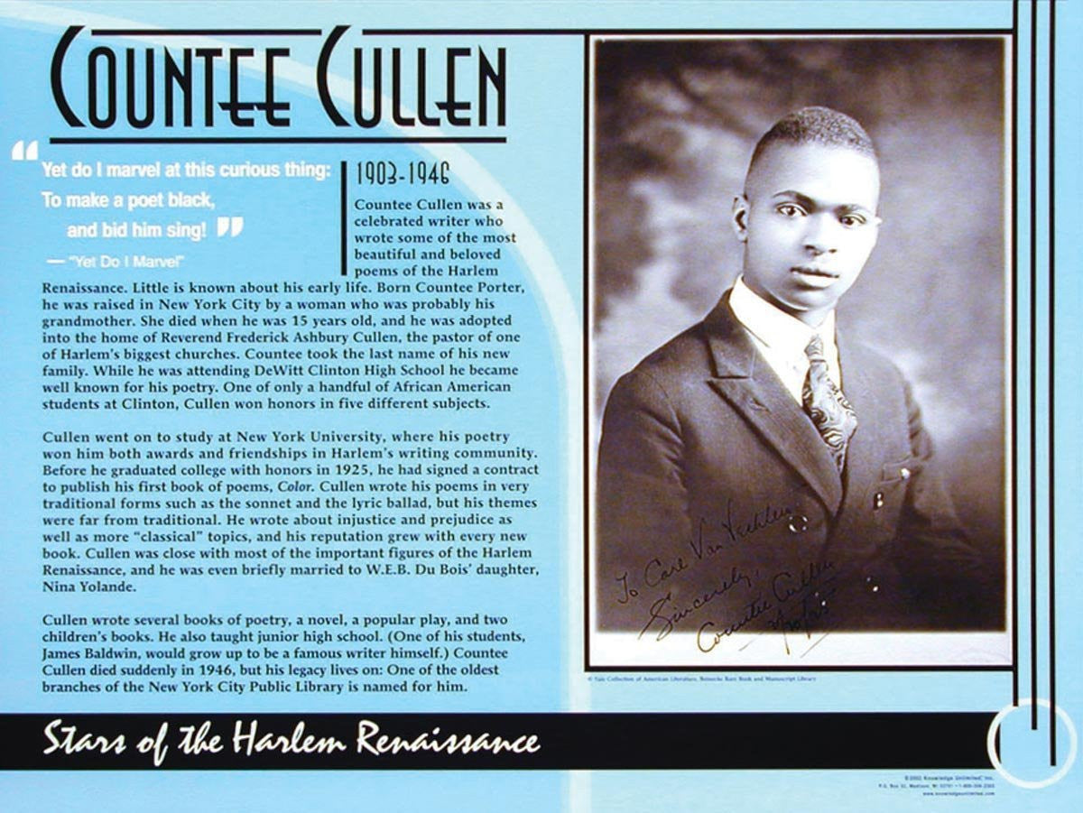Stars of the Harlem Renaissance: Countee Cullen Poster by Knowledge Unlimited