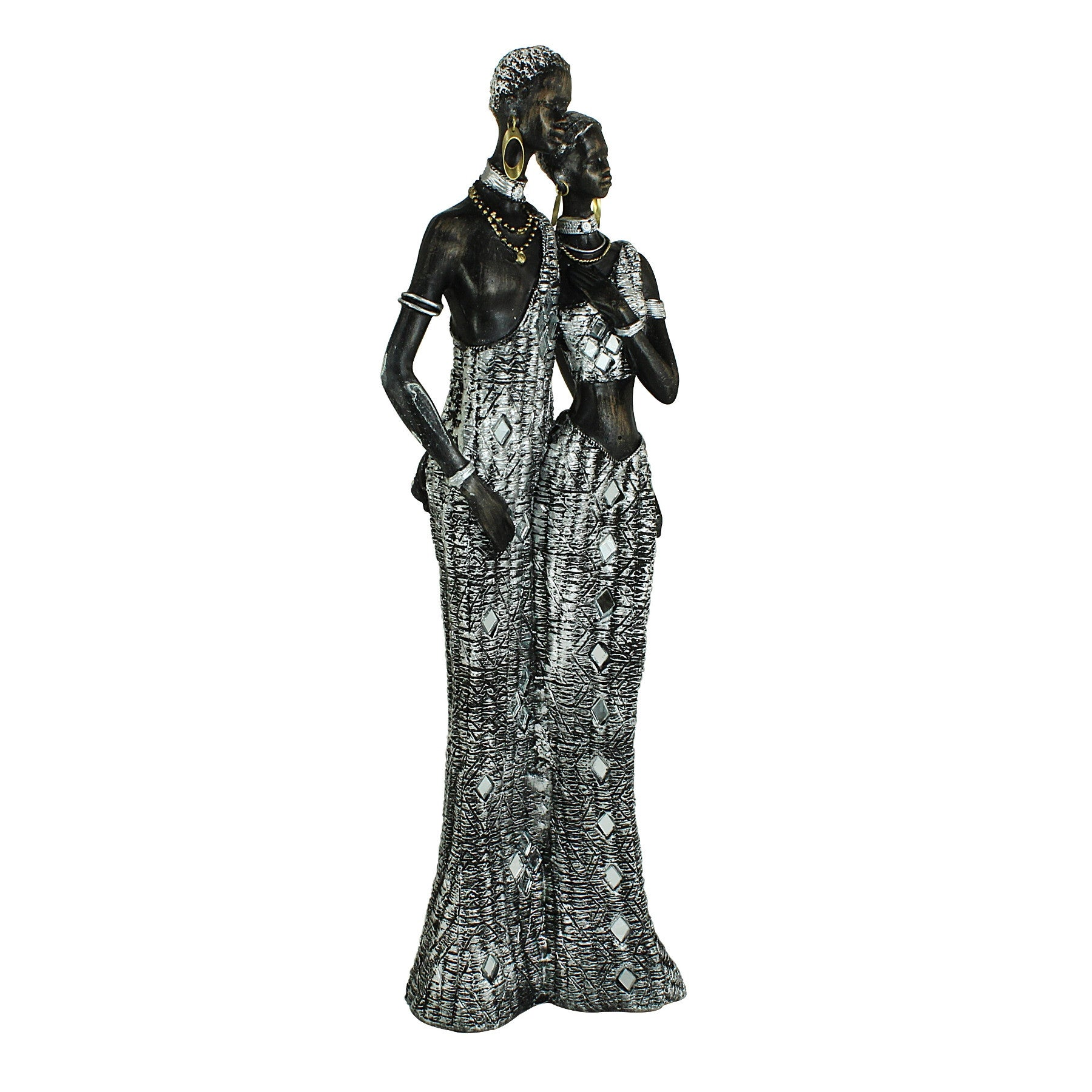 African Couple with Arms Wrapped Around Figurine: Silver Mosaic Collection