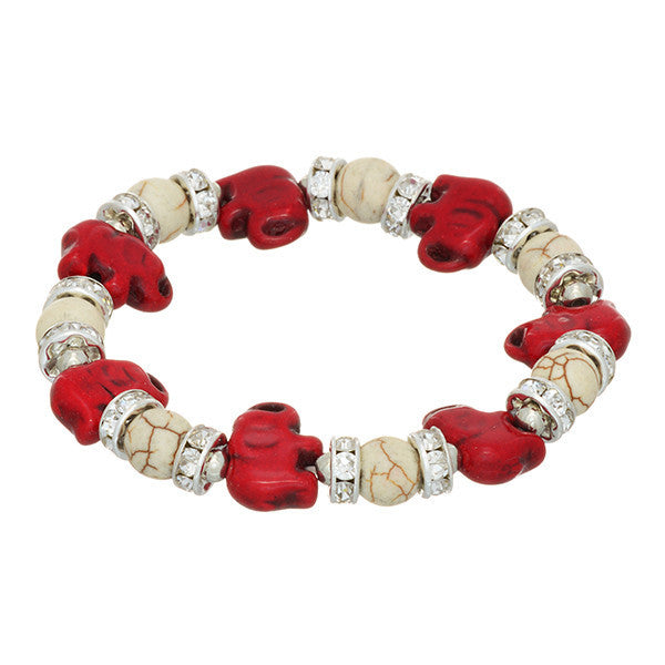 Ivory and Crimson Elephant Stretch Bracelet (Delta Sigma Theta Inspired)
