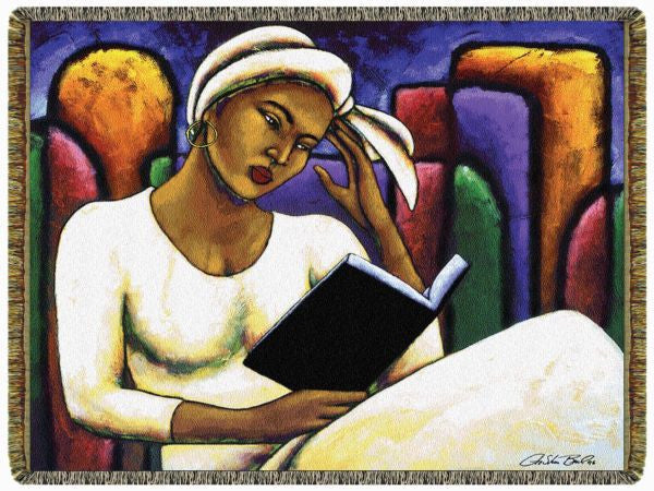 Deep in Thought: African American Tapestry Throw by Lashun Beal