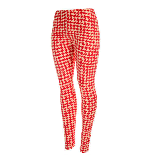 Delta Sigma Theta Crimson and Ivory Houndstooth Leggings by Judson and Company