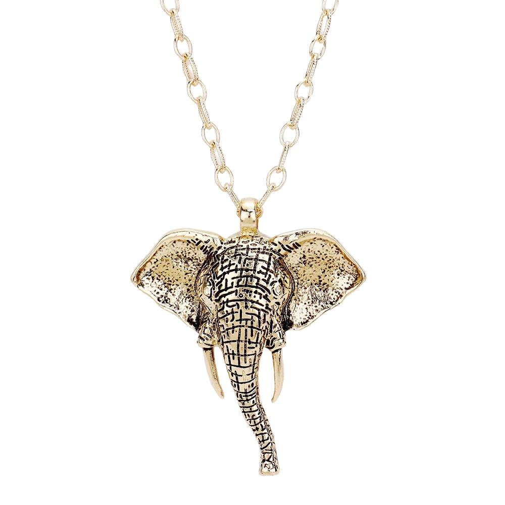 Delta Sigma Theta Inspired Antique Metal Elephant Long Necklace (Gold Tone)