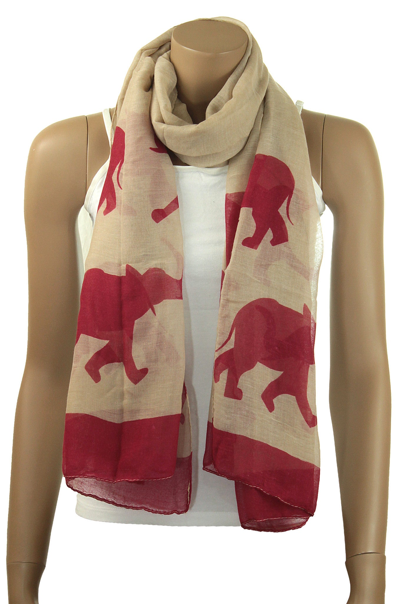 Oversized Crimson and Cream Elephant Scarf
