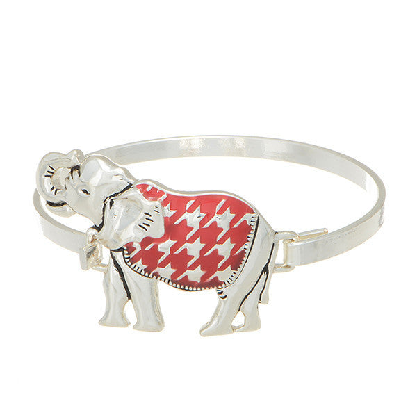 Crimson Elephant Houndstooth Bangle Bracelet (Delta Sigma Theta)
