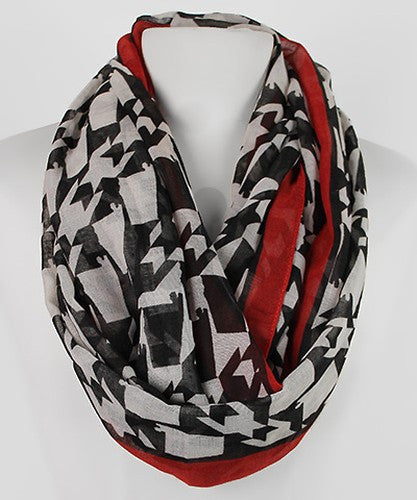 Polyester Houndstooth Infinity Scarf with Crimson Trim (Delta Sigma Theta)