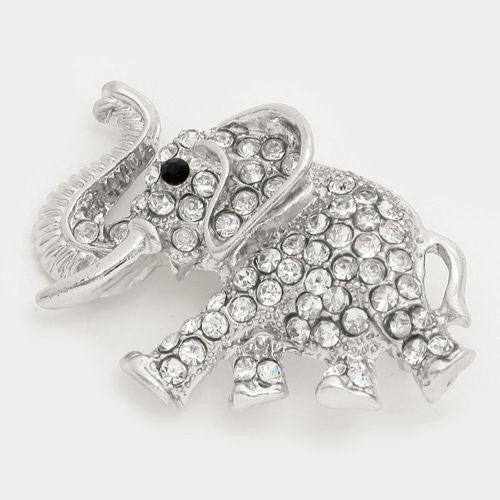 Silver Toned Crystal Pave Elephant Brooch (Front)