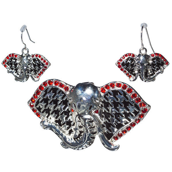 Elephant Houndstooth Pendant and Earring Set (Delta Sigma Theta)