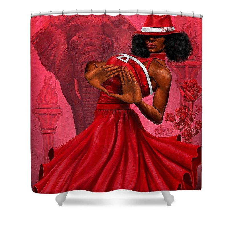 Red and White Diva Divine Shower Curtain by Dion Pollard