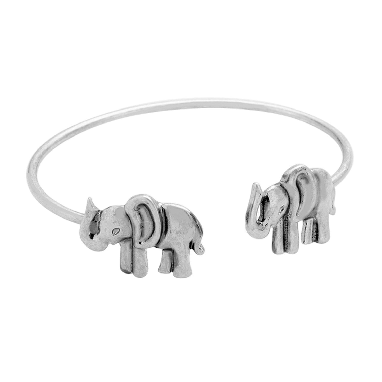 Burnished Dual Elephant Tip Cuff Bracelet (Silver Toned)