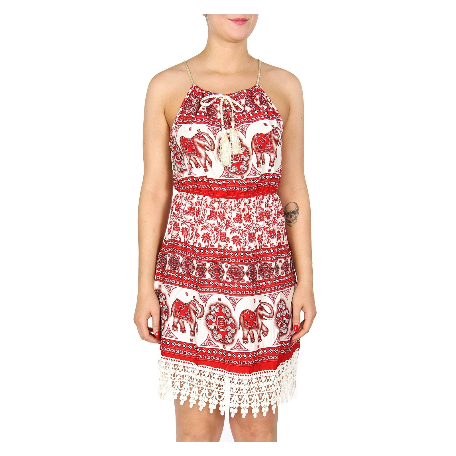 Delta Sigma Theta Inspired Red and White Sleeveless Elephant Dress
