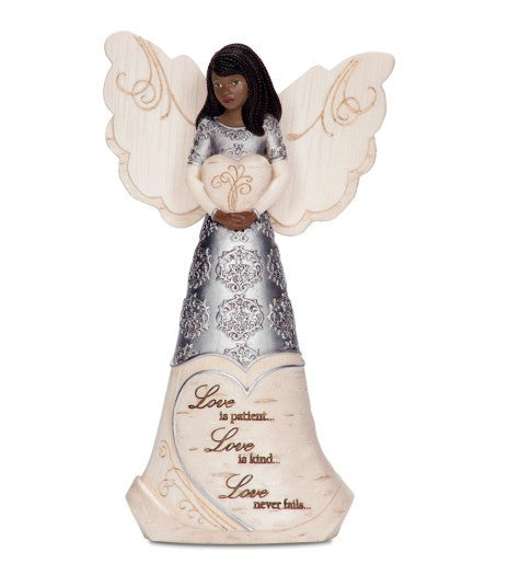Love Angel Holding Heart: Ebony Elements Figurine Collection