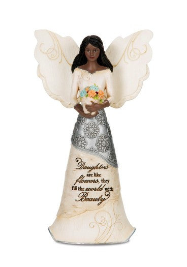 Daughter Angel Holding Flowers Figurine: Ebony Elements Collection