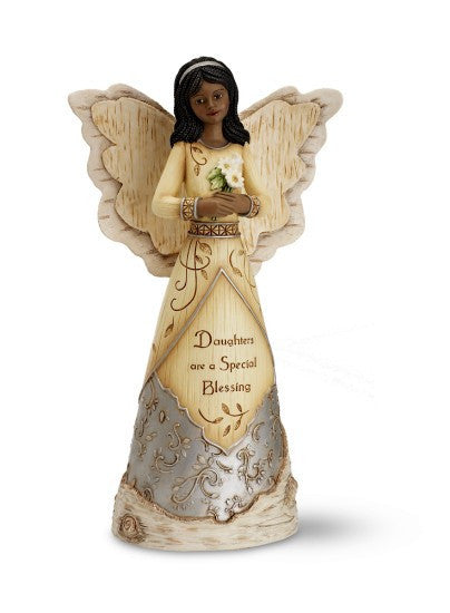 Daughter Angel Holding Daisies Figurine: Ebony Elements Figurine