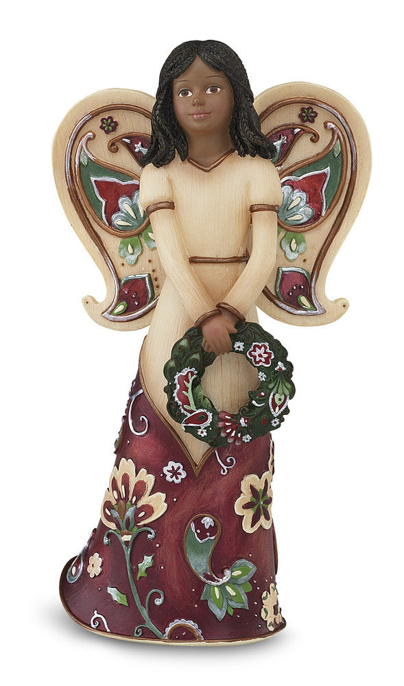 Ebony Happy Holidays Angel Figurine: Perfect Paisley Holiday Collection