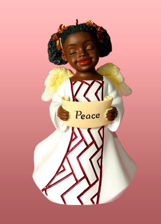 Peace (White): African American Christmas Ornament