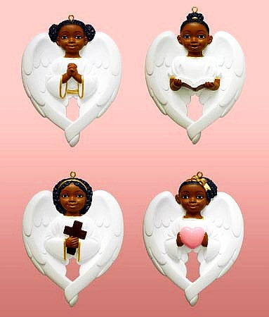 Cherub Wing Set (White): African American Christmas Ornaments