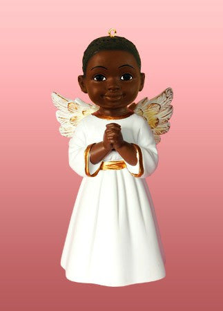 Prayer Boy (White): African American Christmas Ornament