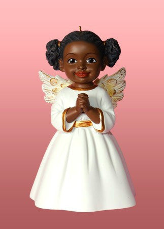 Prayer (White): African American Christmas Ornament