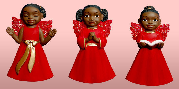 Cherub African American Christmas Ornament Set (Red)