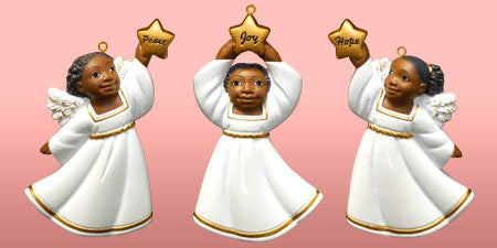 Cherub African American Christmas Ornament Set II (White)