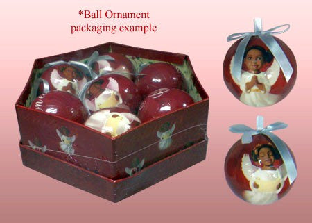 Cherubs Ball African American Christmas Ornament Set (Glossy Finish)