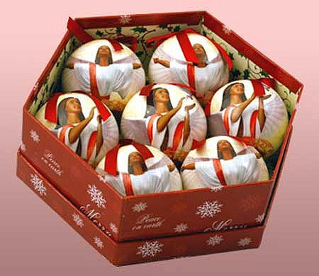Angel Ball African American Christmas Ornament Set (Glossy Finish)