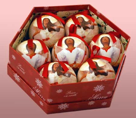 Angel Ball African American Christmas Ornament Set II (Glossy Finish) - Angel Ball African American Christmas Ornament Set II (Glossy Finish