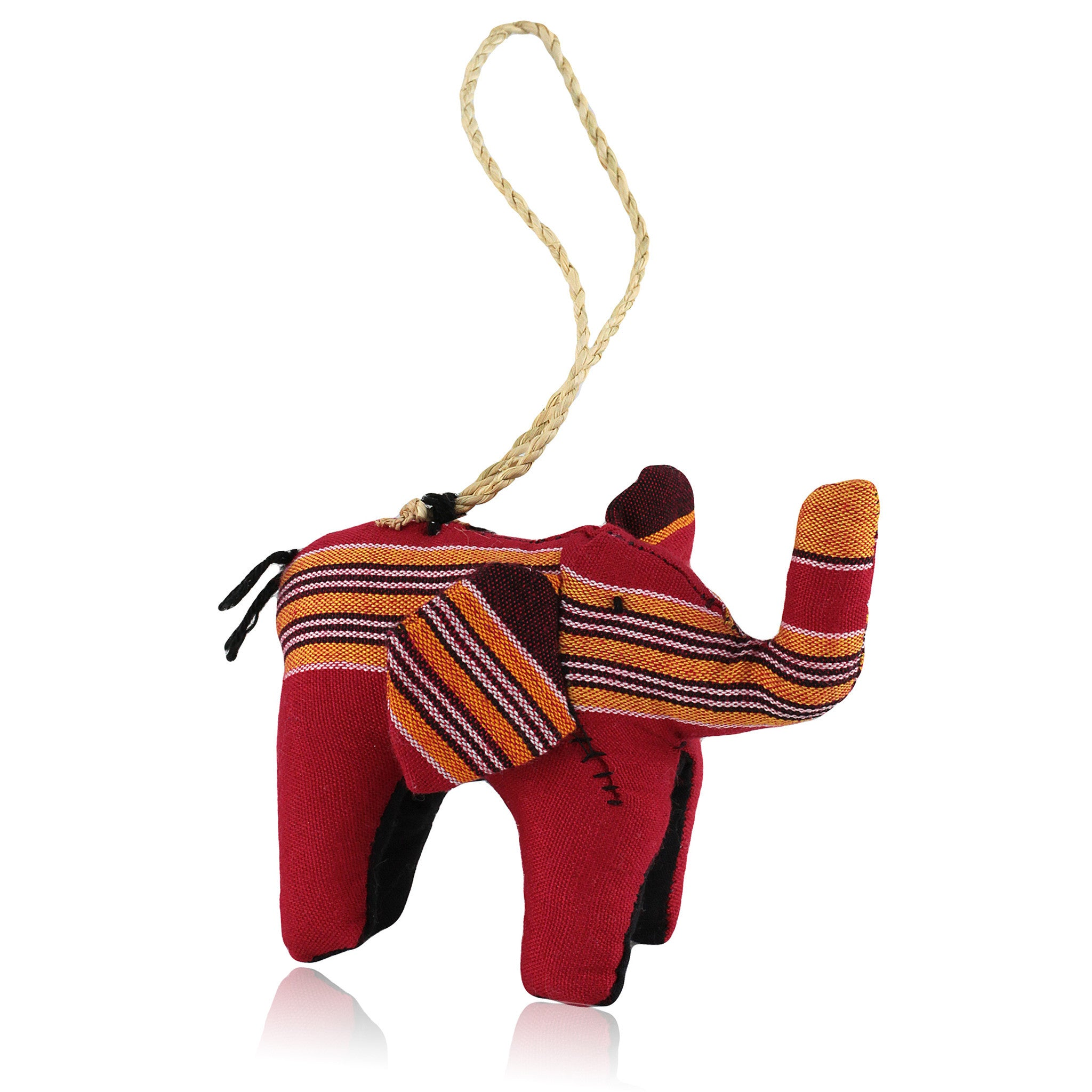 Elephant: Hand Made Kenyan Stuffed Animal Christmas Ornament