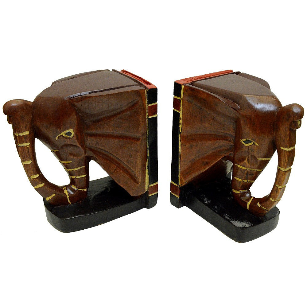 Hand Made Cederella Wood Ghanian African Elephant Bookend