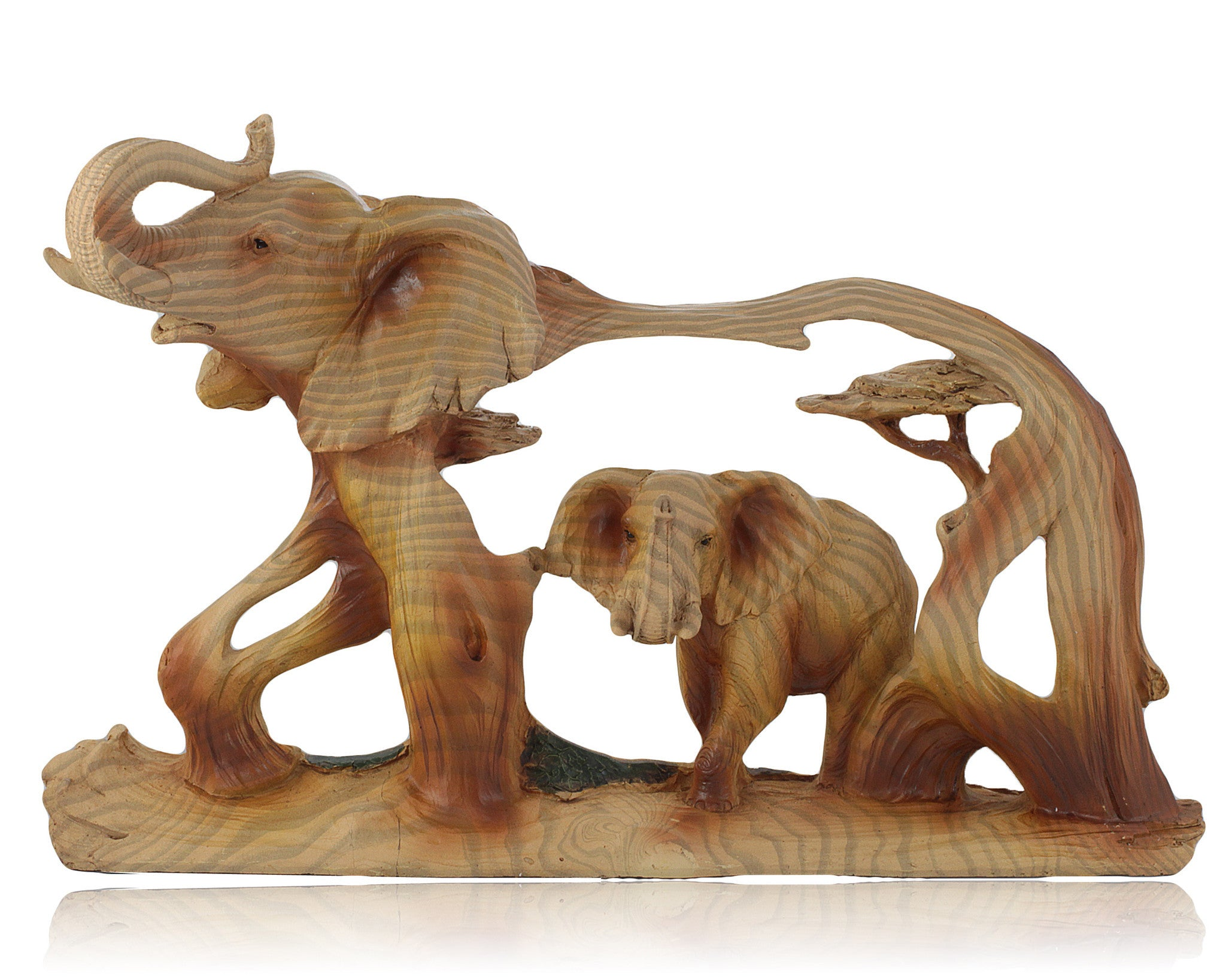 Elephant in Elephant Faux Wood Carving by Unison Gifts