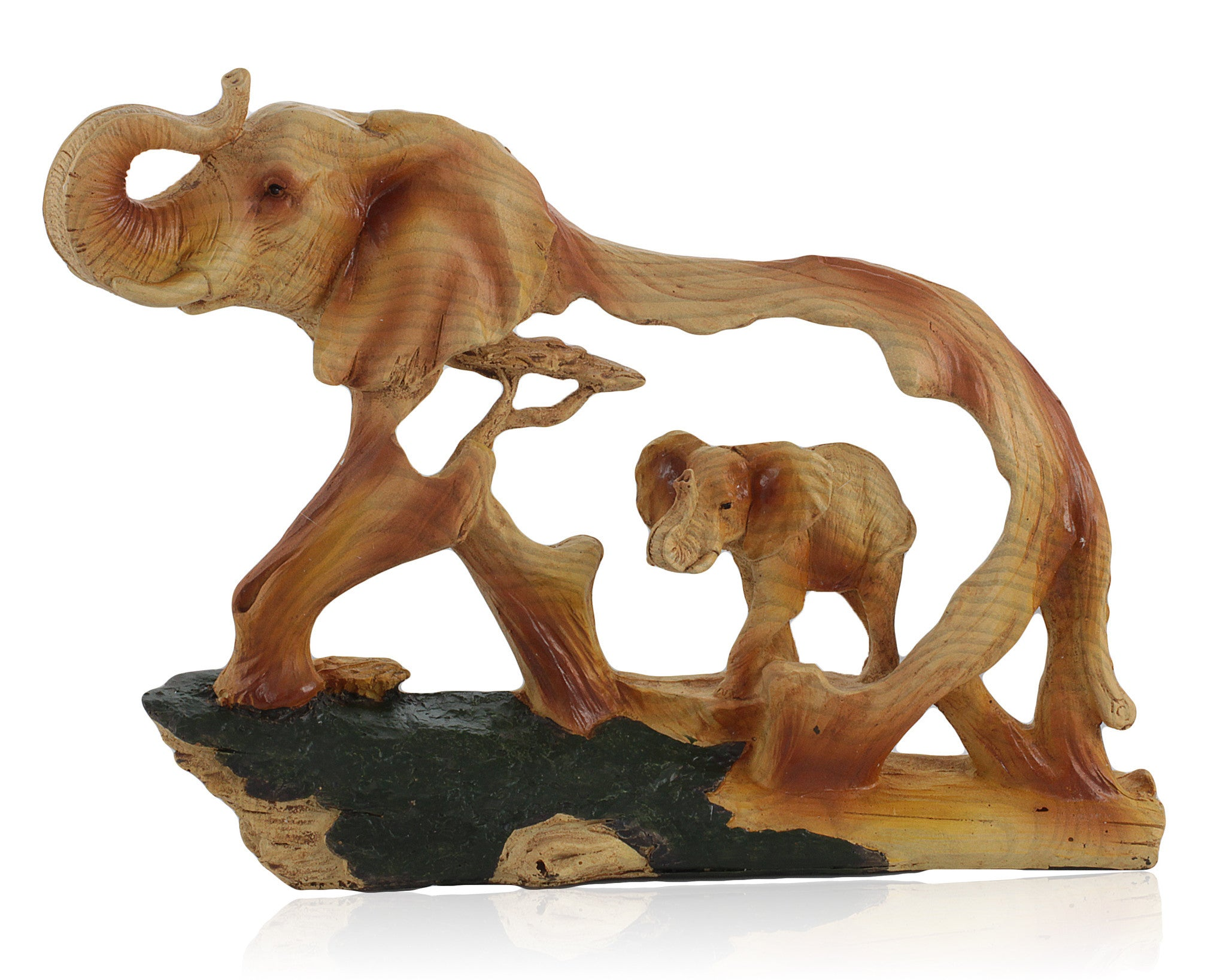 Elephant in Elephant II Faux Wood Carving by Unison Gifts