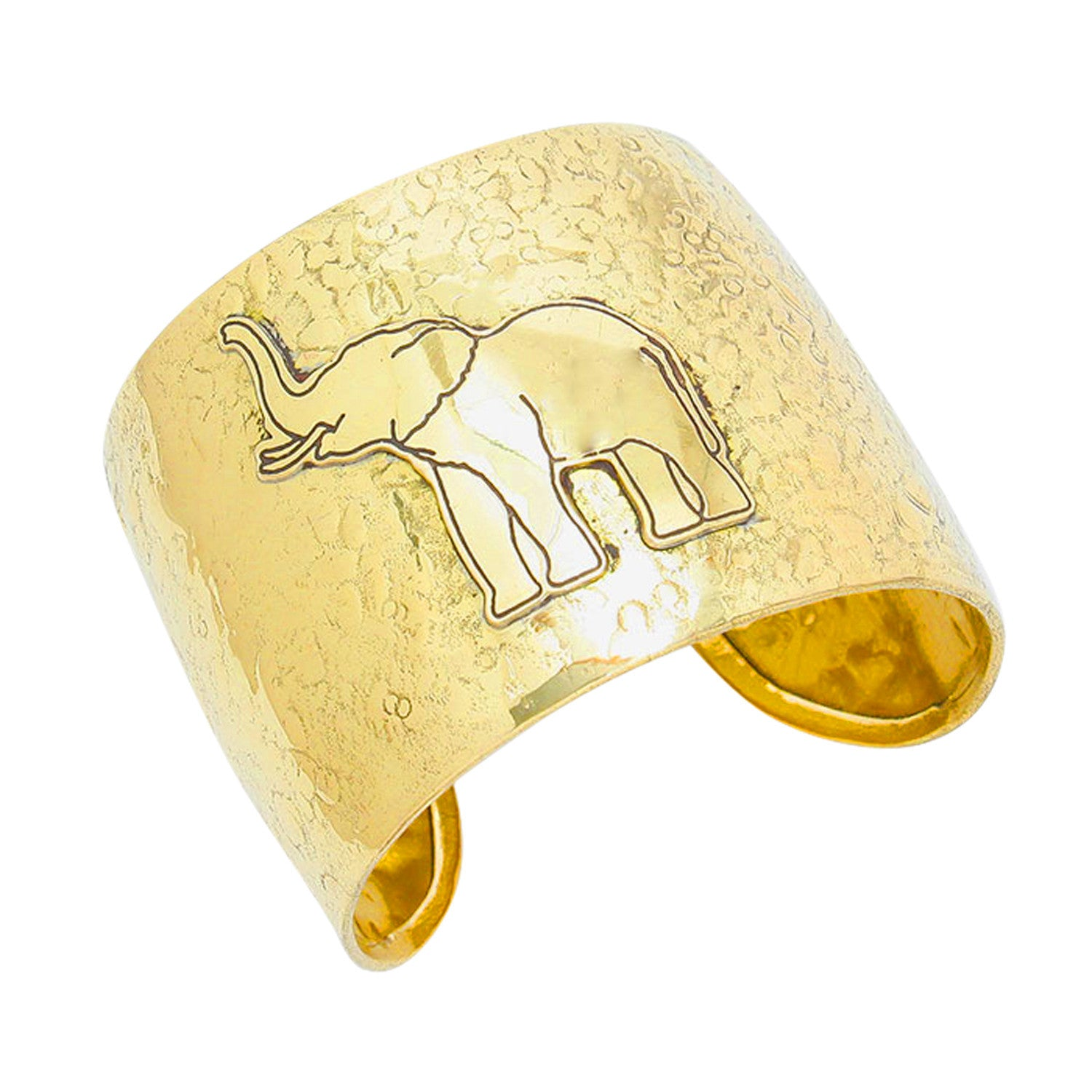 Gold Toned Elephant Cuff Bangle