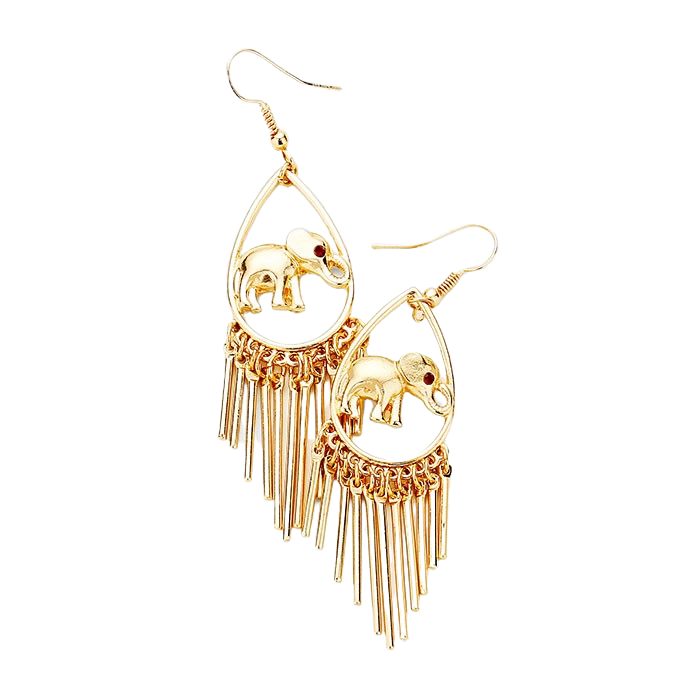 Gold Toned Elephant Teardrop Dangle Earrings with Fringes