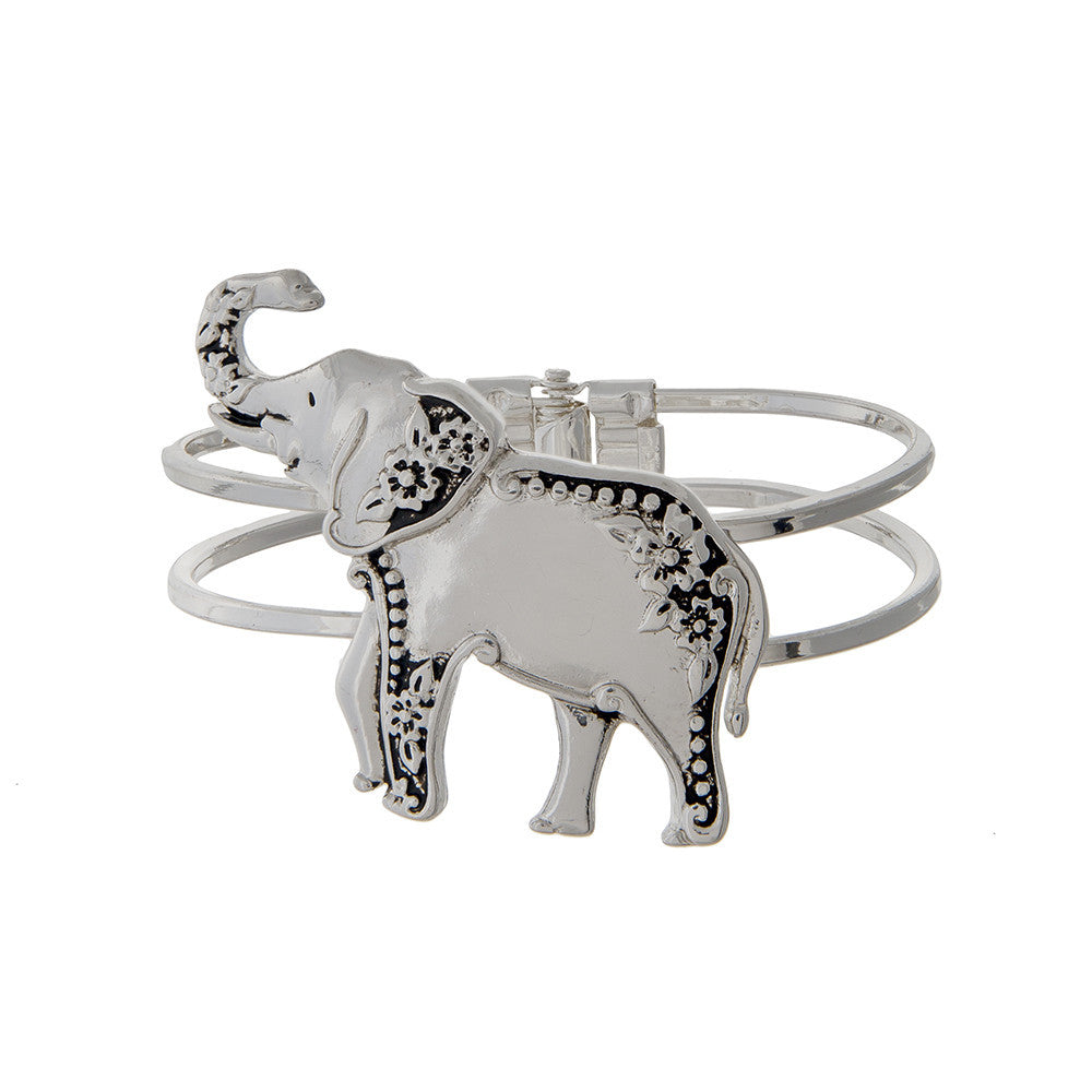 Delta Sigma Theta Inspired Silver Toned Hinged Elephant Bangle