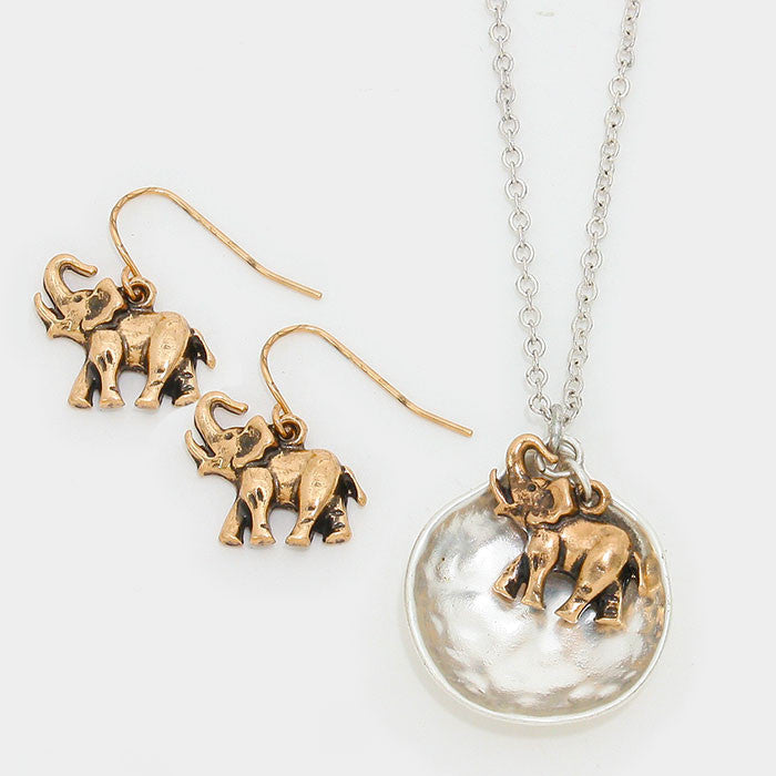 Delta Sigma Theta Inspired Silver Toned Hammered Metal Elephant Pendant and Disc Set