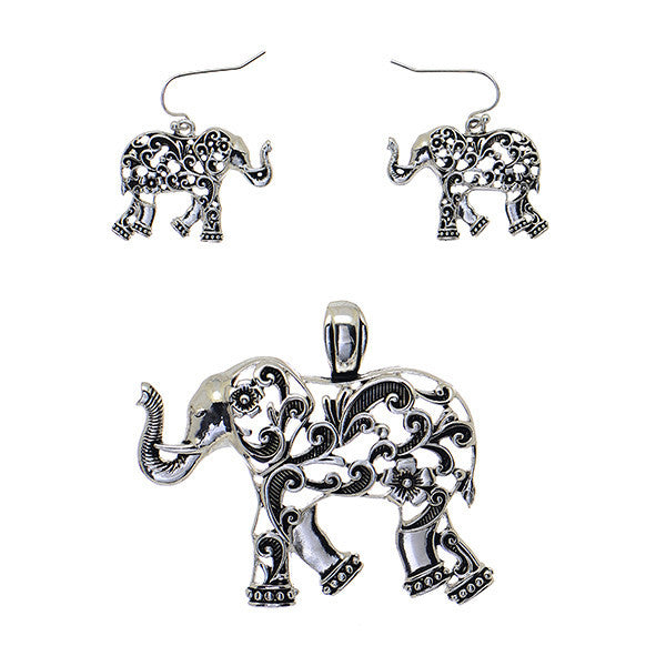 Delta Sigma Theta Inspired Silver Toned Elephant Pendant and Earring Set