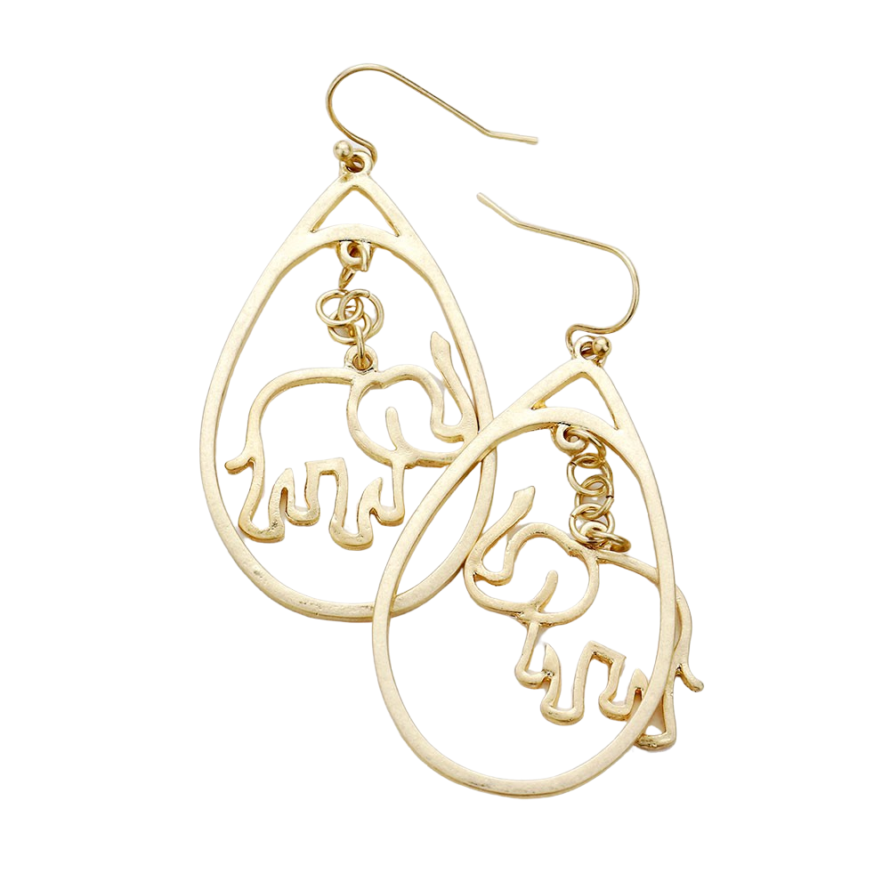 Worn Gold Toned Accented Metal Elephant Teardrop Earrings by Elephant Boutique