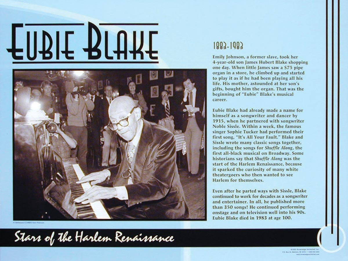 Stars of the Harlem Renaissance: Eubie Blake Poster by Knowledge Unlimited